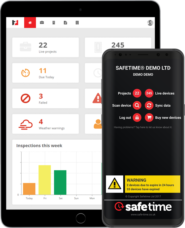 Picture of SafeTime online app on an iPad and android app on an android device