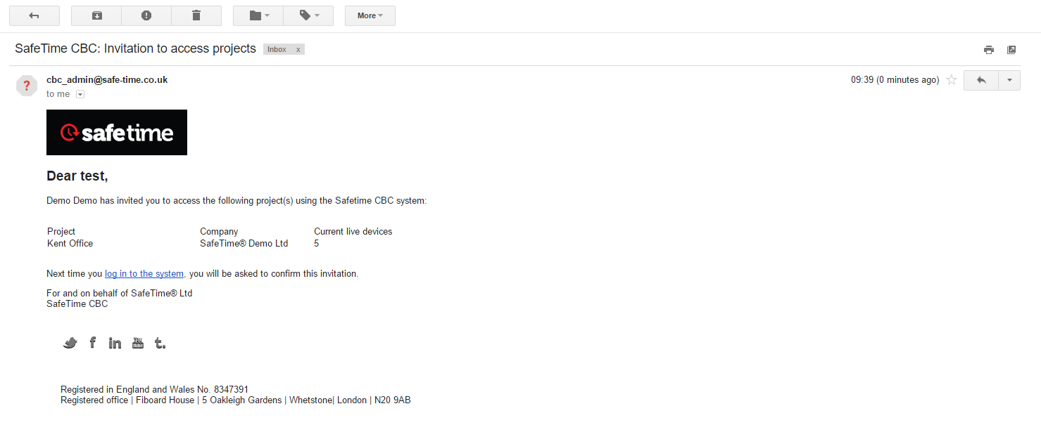 image of invitation email