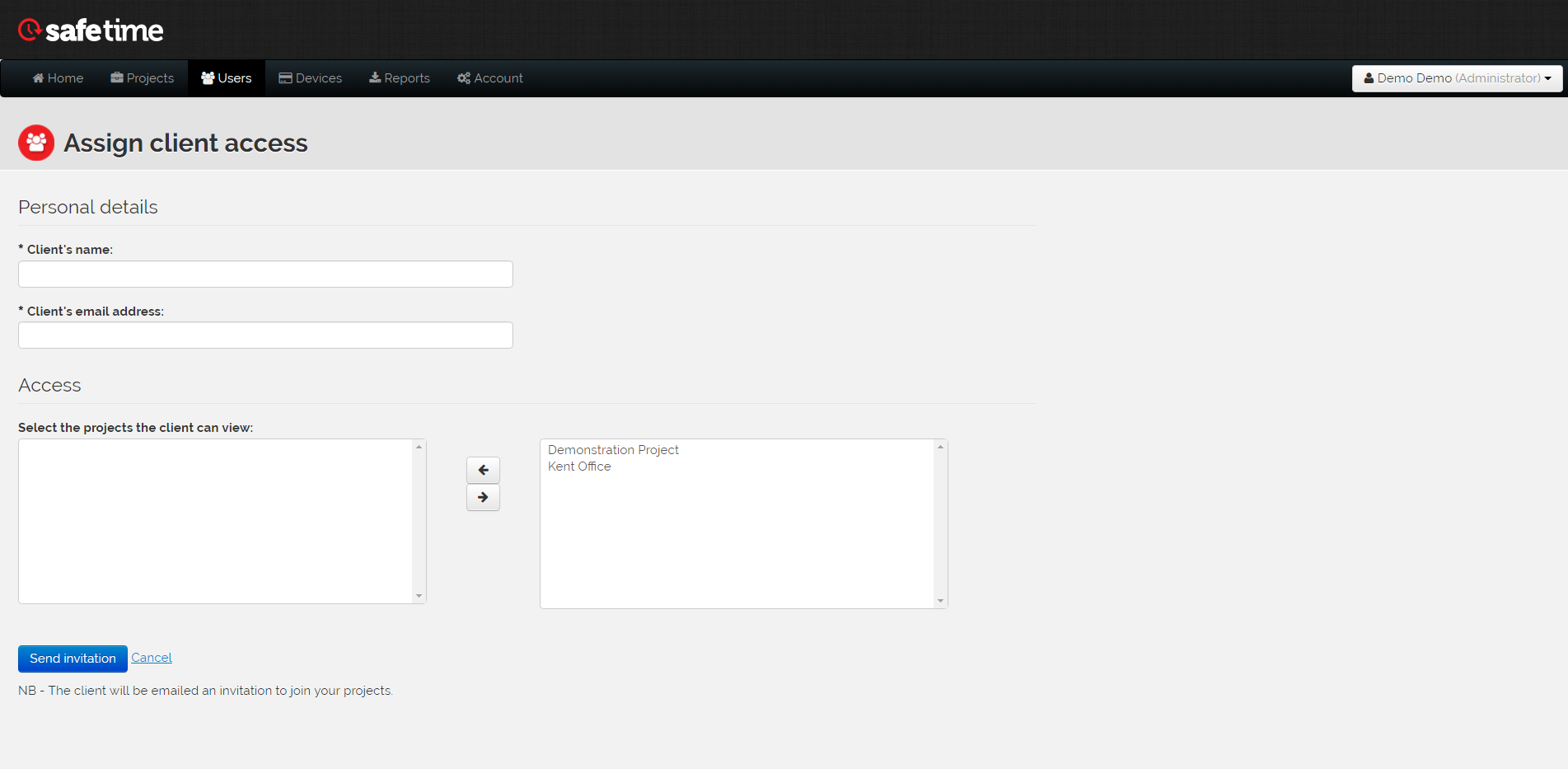 image of the assign client access form